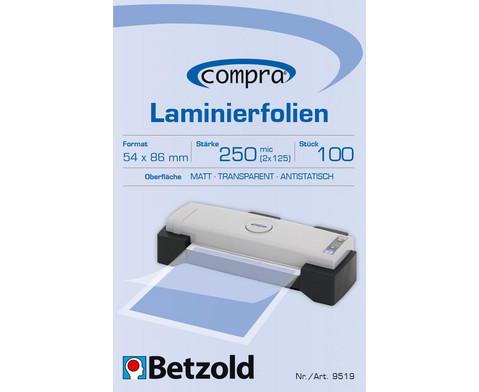 Betzold Betzold Laminierfolien Kreditkarten-Format 100 Stueck