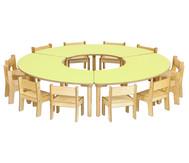 Baccus 15 tlg. Möbelset, Segmenttisch, Tischhöhe 46 cm, Sitzhöhe 26 cm