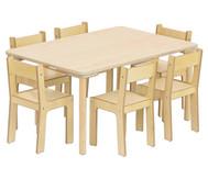 Baccus 7 tlg. Möbelset, Rechtecktisch (80cm breit) Tischhöhe 46 cm, Sitzhöhe 26 cm