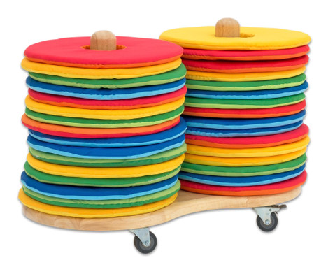 Mobiler Kissenwagen mit 32 runden Donut-Sitzkissen