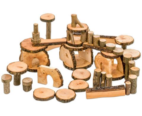 144 Baumkloetze in fahrbarer Kiste
