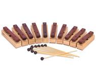 Satz mit 10 Sopran-Klangbausteinen und 10 Schlägeln, Hartholz