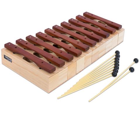 Satz mit 10 Alt-Klangbausteinen und 10 Schlaegeln Hartholz-2