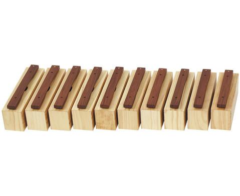 Satz mit 10 Bass-Klangbausteinen und 10 Schlaegeln Hartholz-1
