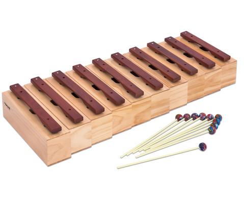 Satz mit 10 Bass-Klangbausteinen und 10 Schlaegeln Hartholz-2
