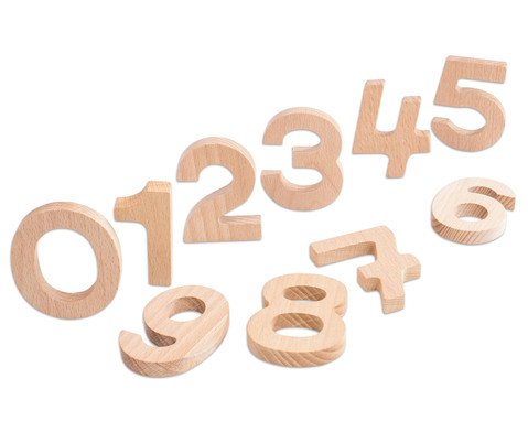 Ziffern aus naturbelassenem Buchenholz