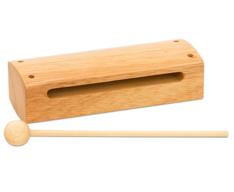 Holzblocktrommel aus hellem Holz-1