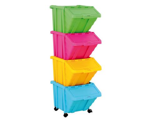 Grosse Stapelbox mit Klappdeckel in 4 Farben-1