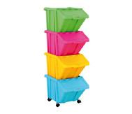 Große Stapelbox mit Klappdeckel in 4 Farben