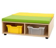 Maddox Sitzkombination 11: Sitzbank quadratisch, Sitzmatten grün/gelb, 4 Boxen
