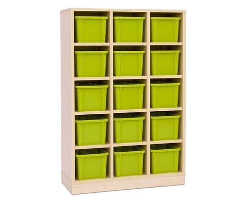 Garderoben-Fachregale CHIPPO mit gruenen Boxen-1