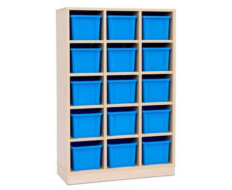 Garderoben-Fachregale CHIPPO mit blauen Boxen