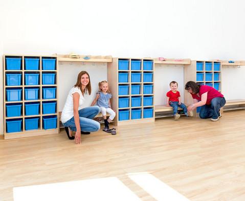 Garderoben-Fachregale CHIPPO mit blauen Boxen-2
