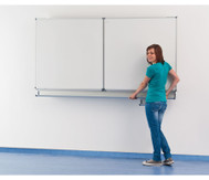 Klapp-Schiebetafel, Whiteboard, Stahl, (200 x 100) + (100 x 100) cm