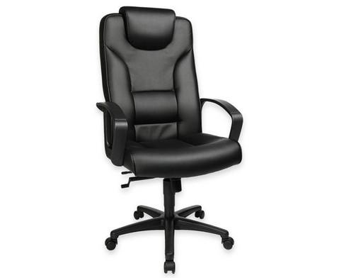 Komfort Chefsessel mit Leder-Sitzflaeche und Kunststoff-Fusskreuz