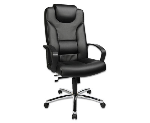 Komfort Chefsessel mit Leder-Sitzflaeche und Stahlfusskreuz-1