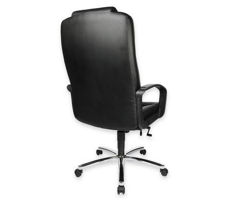 Komfort Chefsessel mit Leder-Sitzflaeche und Stahlfusskreuz-2