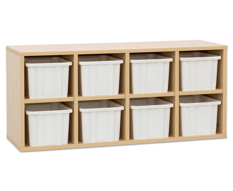 Garderoben-Haengeregale CHIPPO mit weissen Boxen