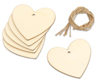 Holzanhänger Herz, 6 Stück