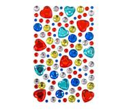 Glitzersteine zum Aufkleben, Rote Herzen und mehr, 105-tlg.