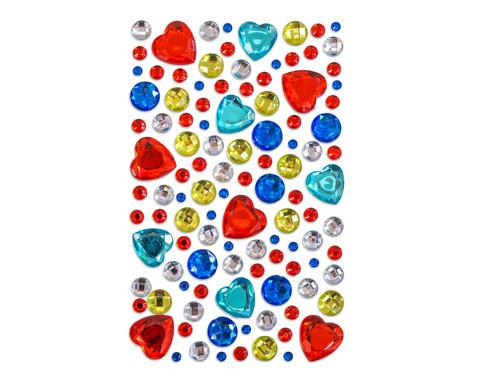 Glitzersteine zum Aufkleben - rote Herzen und mehr 105-tlg