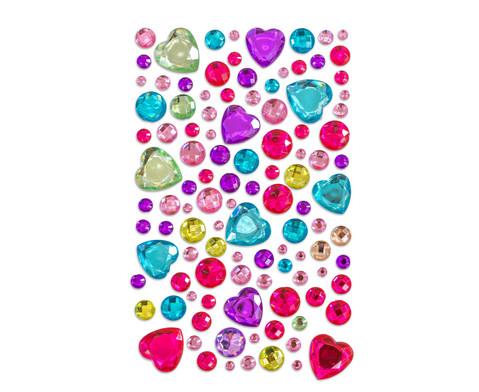 Glitzersteine zum Aufkleben Herzen in pastell 105-tlg-1