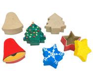 Pappdosen Stern, Baum und Glocke, 6 Stück