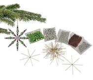 Drahtsterne-Komplett-Set silber-braun-grün