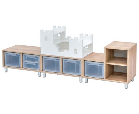 Flexeo EduCasa Kombination mit Boxen und Ritterburg