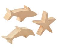 Schnitzrohlinge, 3er-Set - Seestern, Hai, Delfin