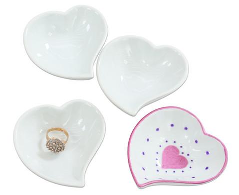 Porzellan-Herzschalen 12 Stueck