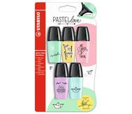 Stabilo Mini-Textmarker pastell, 5er Set