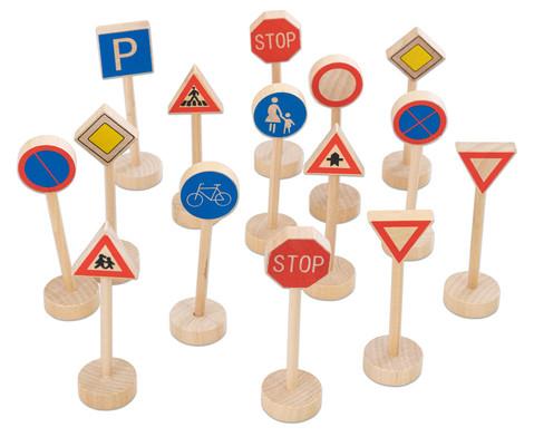 Verkehrszeichen aus Holz 15-teilig