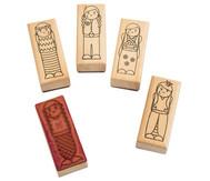 Holzstempel Mädchen oder Jungs, 5-teilig