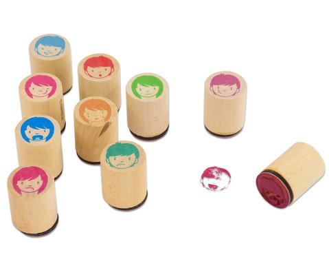 Holzstempel Gesichter 10-teilig-2