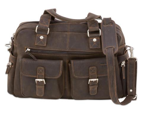 Businesstasche XL aus Bueffelleder mit Schulterriemen