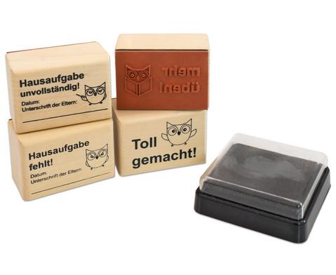 Betzold Hausaufgaben-Stempel 4 Stueck im Set inkl Stempelkissen