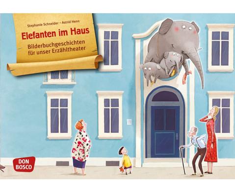 Bildkarten Elefanten im Haus