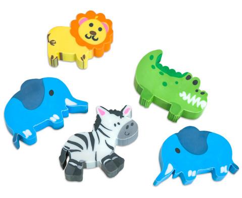 Radiergummi Dschungel-Tiere 5 Stueck im Set verschiedene Motive
