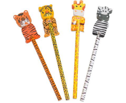 Bleistift Wilde Tiere 4 Stueck im Set verschiedene Motive