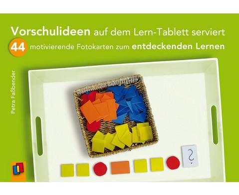 Bildkarten Vorschulideen auf dem Lern-Tablett serviert