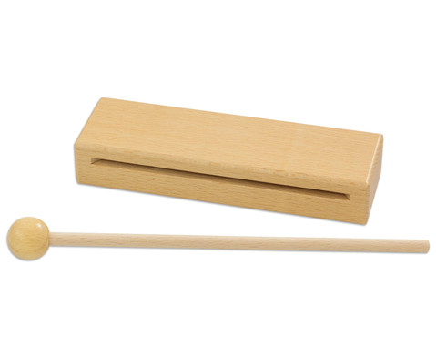 Holzblocktrommel mit Schlaegel
