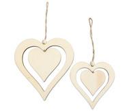 Holzornament Herz, 2 Stück