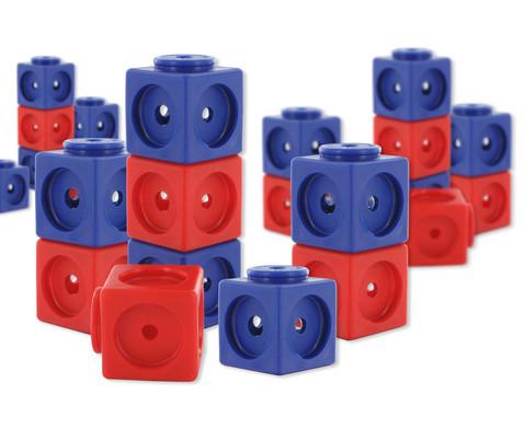 Riesensteckwuerfel-Set magnetisch 200 Stueck rot-blau