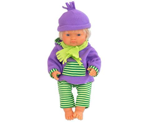 Puppenkleidung mit Muetze und Schal-2