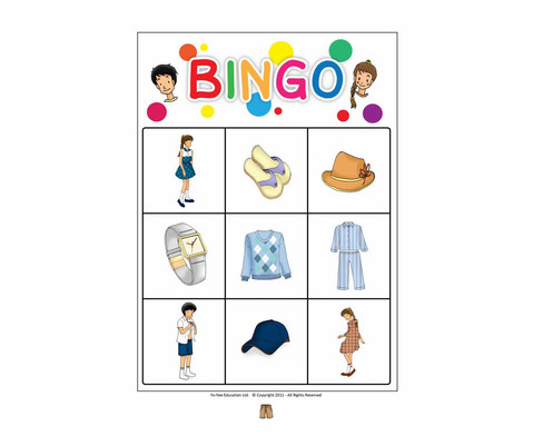Bildkarten Bekleidung inkl Bingo Spiel-3