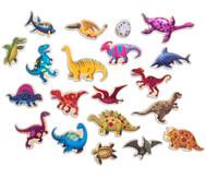 Dino-Magnete aus Holz, 20 Stück in Box