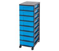 IRIS Schubladenbox mit Rollen, schwarz / blau (8 kleine Schubladen)