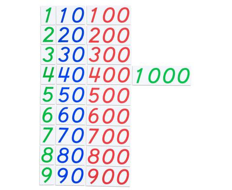 Grosse Zahlenkarten aus Karton 1 - 1000-2