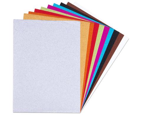 Glitter-Kraftpapier 10 Farben 24 x 34 cm